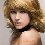 Прическа Каскад на средние волосы с косой челкой