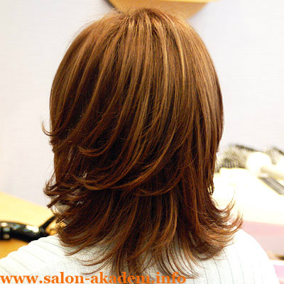 Каскад на средние волосы вид сзади
