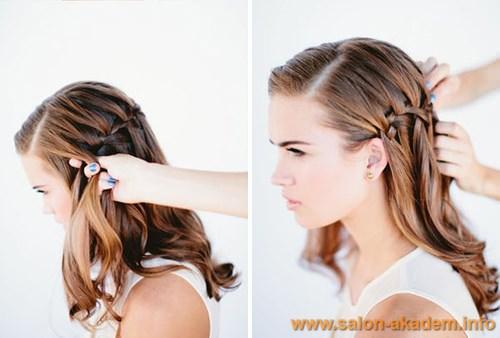 Как заплести косу французский водопад фото