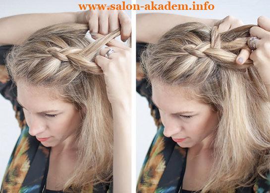 плетение обратной французской косы фото