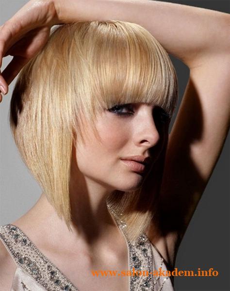 Стрижка боб на средние волосы с короткой челкой