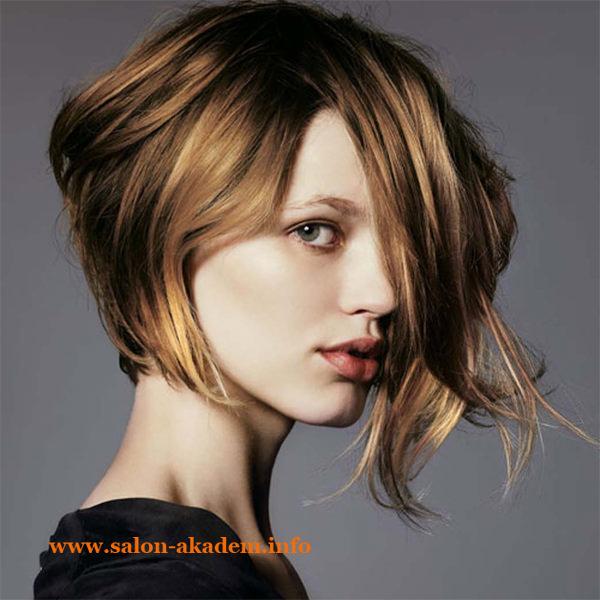 Ассиметричный боб на вьющихся волосах