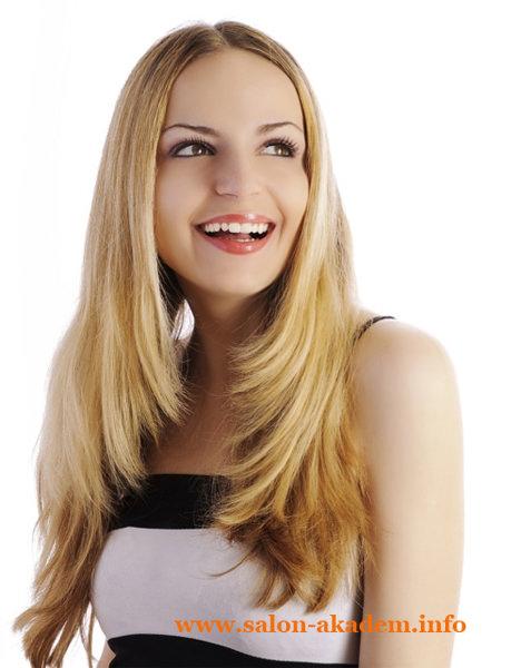 Легкий каскад на длинные волосы