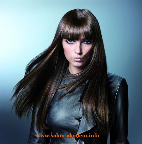 Каскад с прямой челкой на длинные волосы фото