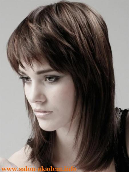 Прическа каскад на средние волосы с челкой