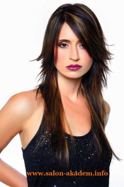 Стрижка каскад с косой челкой на длинные волосы фото
