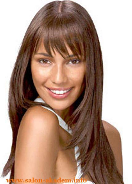 Стрижка каскад на длинные волосы с прямой челкой