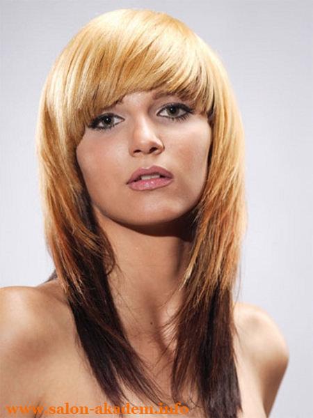 Каскад с чёлкой на длинные волосы