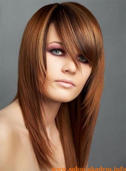 Стрижка каскад на длинные волосы с косой челкой