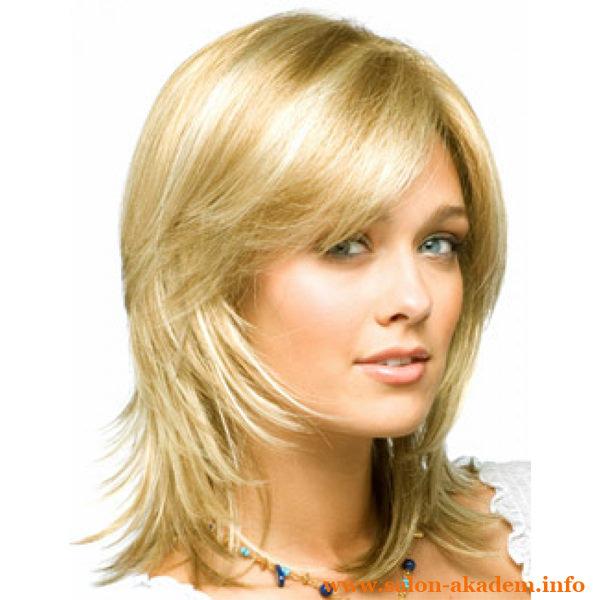 Каскад с косой челкой на средние волосы фото