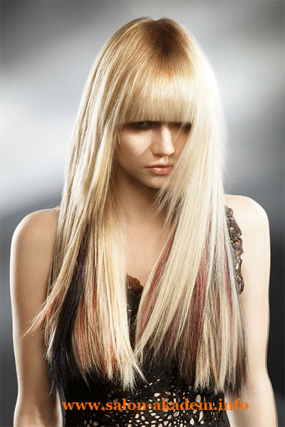 Стрижка каскад на длинные волосы с прямой челкой фото