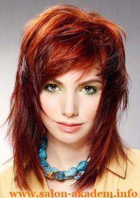 Каскад на средние волосы с челкой на бок фото